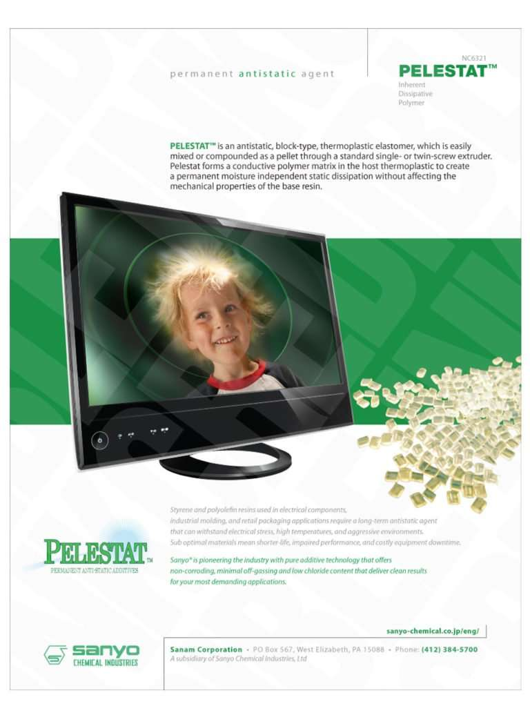 A tv monitor featuring a child static hair with antistatic pellets