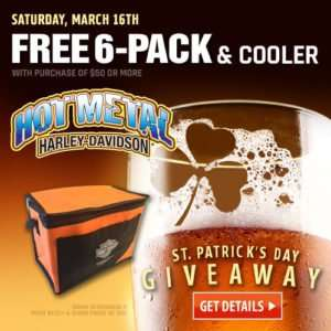 social media design of st patrick's day harley davidson banner ad giveaway banner ad with glass of beer, shamrock in foam, with free 6 pack of beer & carry cooler