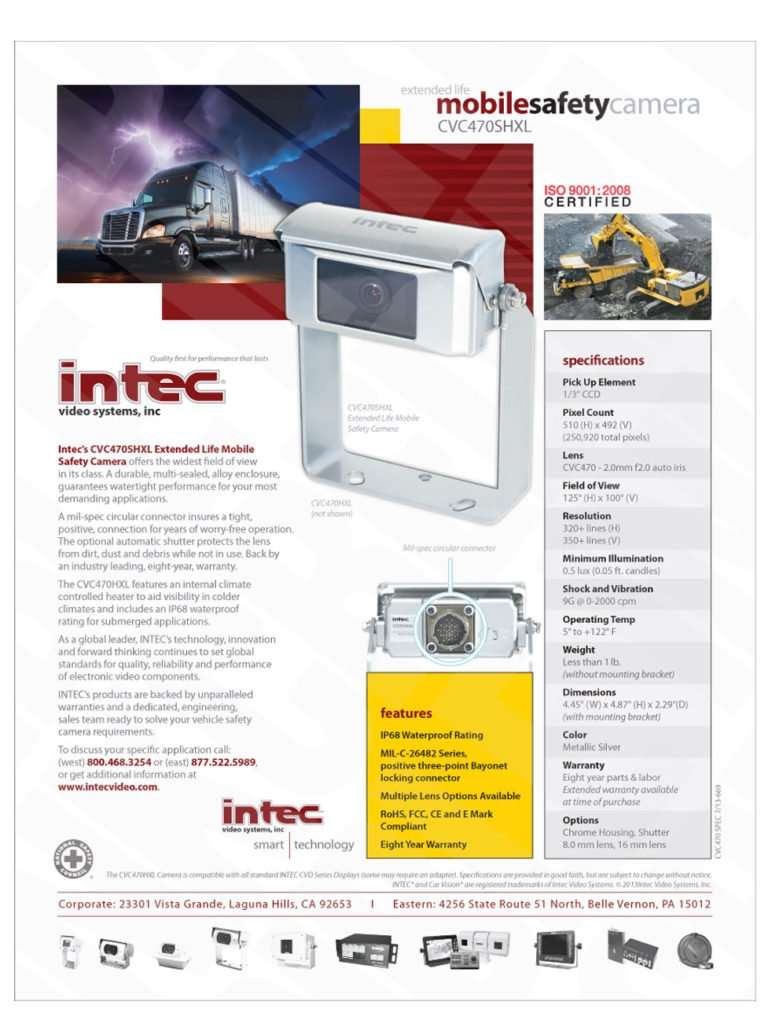 sales sheet design of intec mobile safety camera with camera and application pictures and product specifications