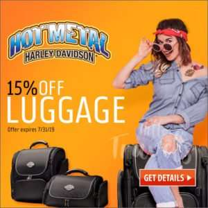 social media design with tattoo woman in jeans sitting on harley davidson luggage