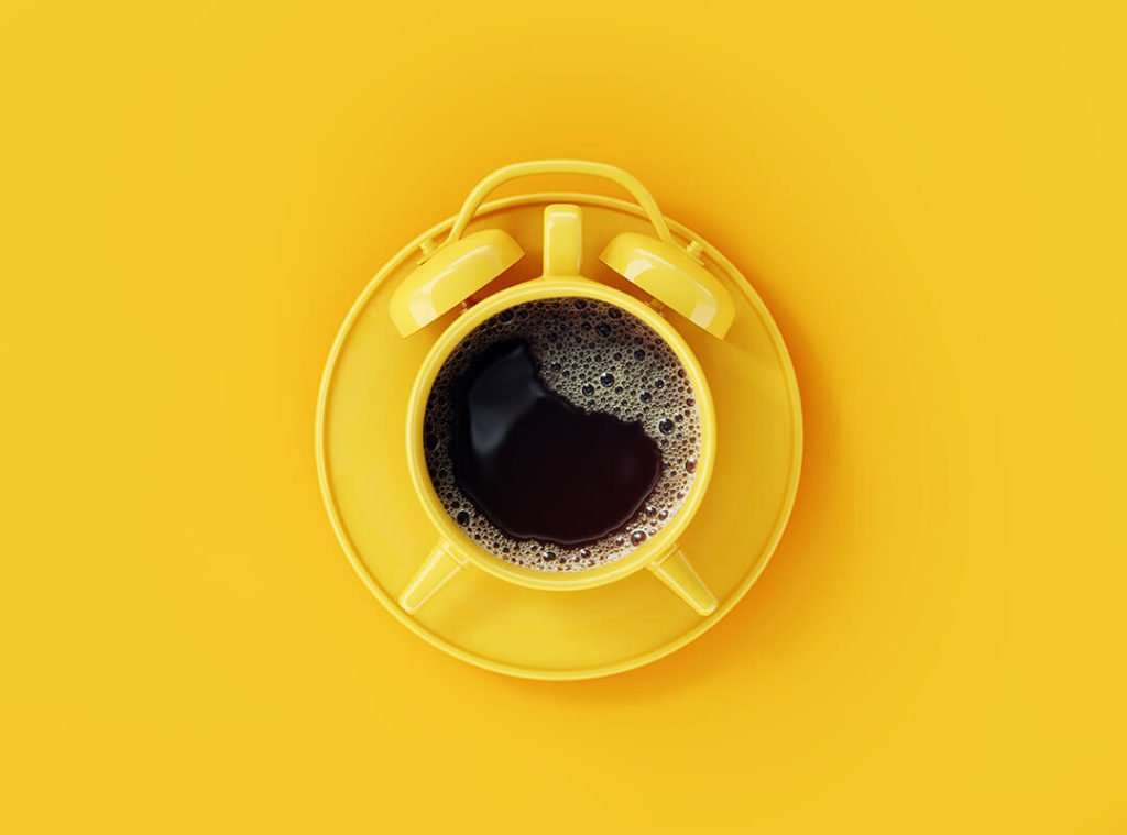 perk up your brand strategy with a a yellow alarm cup of coffee
