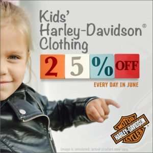 social media design of harley davison kids clothing sale